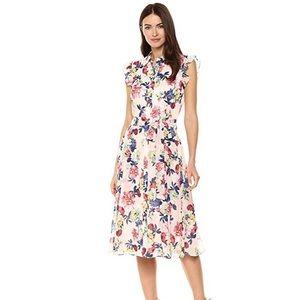Tahari Chiffon Floral Dress Pink Size 4